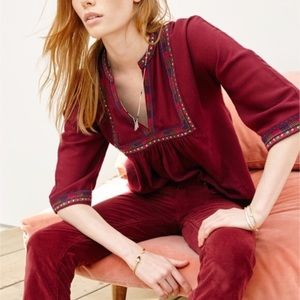 Madewell Red Burgundy Embroidered Boheme Popover
